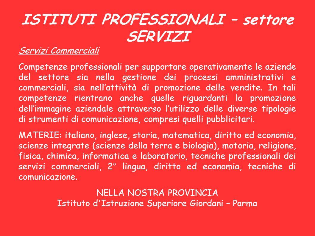 ISTITUTI PROFESSIONALI – settore SERVIZI Servizi Commerciali Competenze professionali per supportare operativamente le aziende del settore sia nella g