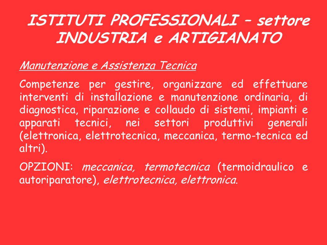 ISTITUTI PROFESSIONALI – settore INDUSTRIA e ARTIGIANATO Manutenzione e Assistenza Tecnica Competenze per gestire, organizzare ed effettuare intervent