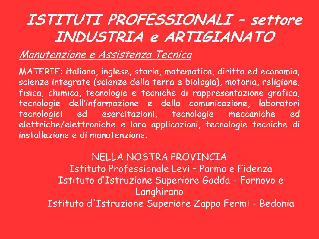ISTITUTI PROFESSIONALI – settore INDUSTRIA e ARTIGIANATO Manutenzione e Assistenza Tecnica MATERIE: italiano, inglese, storia, matematica, diritto ed