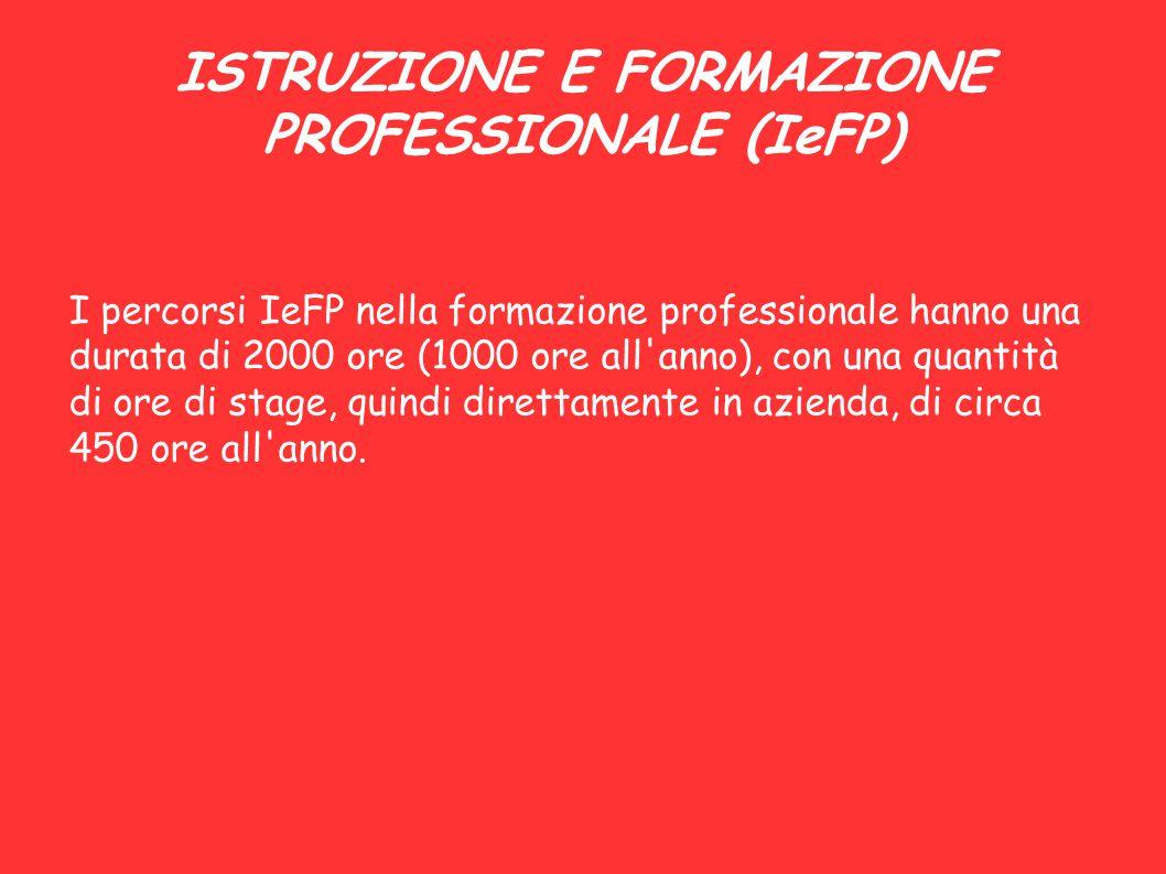 ISTRUZIONE E FORMAZIONE PROFESSIONALE (IeFP) I percorsi IeFP nella formazione professionale hanno una durata di 2000 ore (1000 ore all'anno), con una