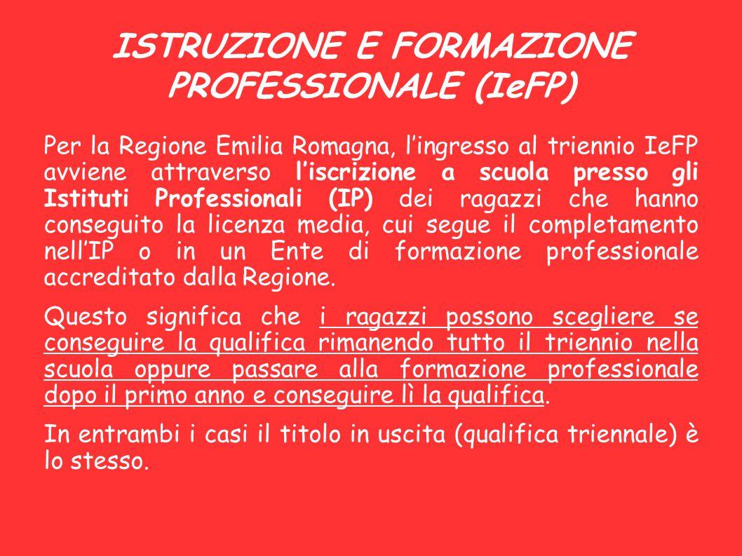 ISTRUZIONE E FORMAZIONE PROFESSIONALE (IeFP) Per la Regione Emilia Romagna, l'ingresso al triennio IeFP avviene attraverso l'iscrizione a scuola press