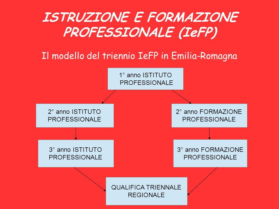 ISTRUZIONE E FORMAZIONE PROFESSIONALE (IeFP) Il modello del triennio IeFP in Emilia-Romagna 1° anno ISTITUTO PROFESSIONALE 2° anno ISTITUTO PROFESSION