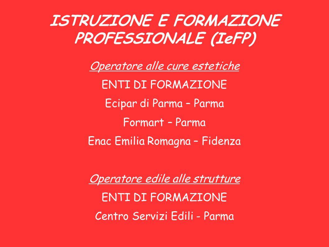 ISTRUZIONE E FORMAZIONE PROFESSIONALE (IeFP) Operatore alle cure estetiche ENTI DI FORMAZIONE Ecipar di Parma – Parma Formart – Parma Enac Emilia Roma