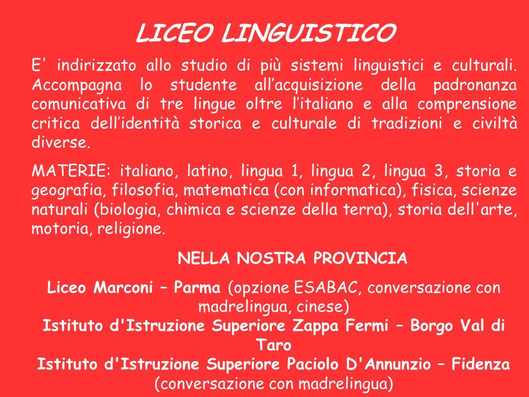LICEO LINGUISTICO E' indirizzato allo studio di più sistemi linguistici e culturali. Accompagna lo studente all'acquisizione della padronanza comunica