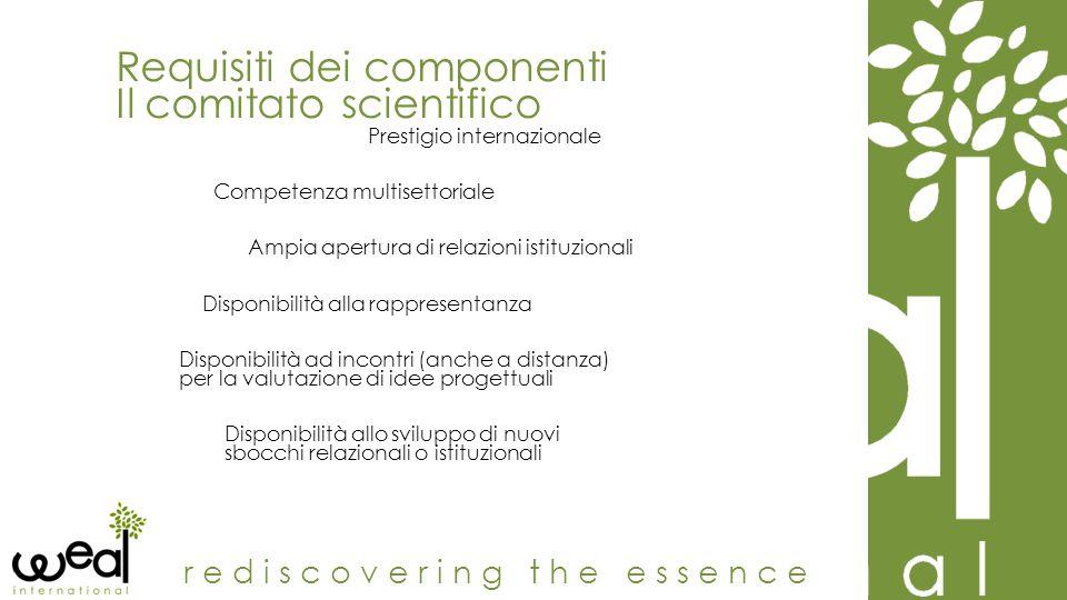 Requisiti dei componenti Il comitato scientifico rediscovering the essence Prestigio internazionale Competenza multisettoriale Ampia apertura di relaz