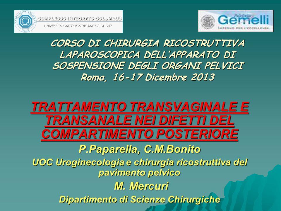 CORSO DI CHIRURGIA RICOSTRUTTIVA LAPAROSCOPICA DELL'APPARATO DI SOSPENSIONE DEGLI ORGANI PELVICI Roma, 16-17 Dicembre 2013 TRATTAMENTO TRANSVAGINALE E