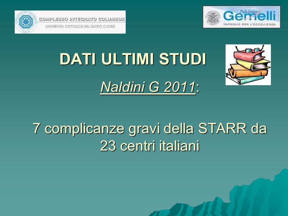 DATI ULTIMI STUDI Naldini G 2011: 7 complicanze gravi della STARR da 23 centri italiani