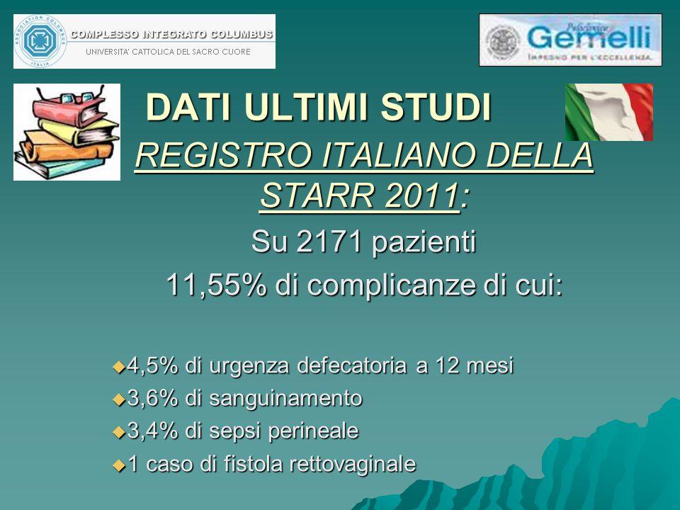 DATI ULTIMI STUDI REGISTRO ITALIANO DELLA STARR 2011: Su 2171 pazienti 11,55% di complicanze di cui:  4,5% di urgenza defecatoria a 12 mesi  3,6% di
