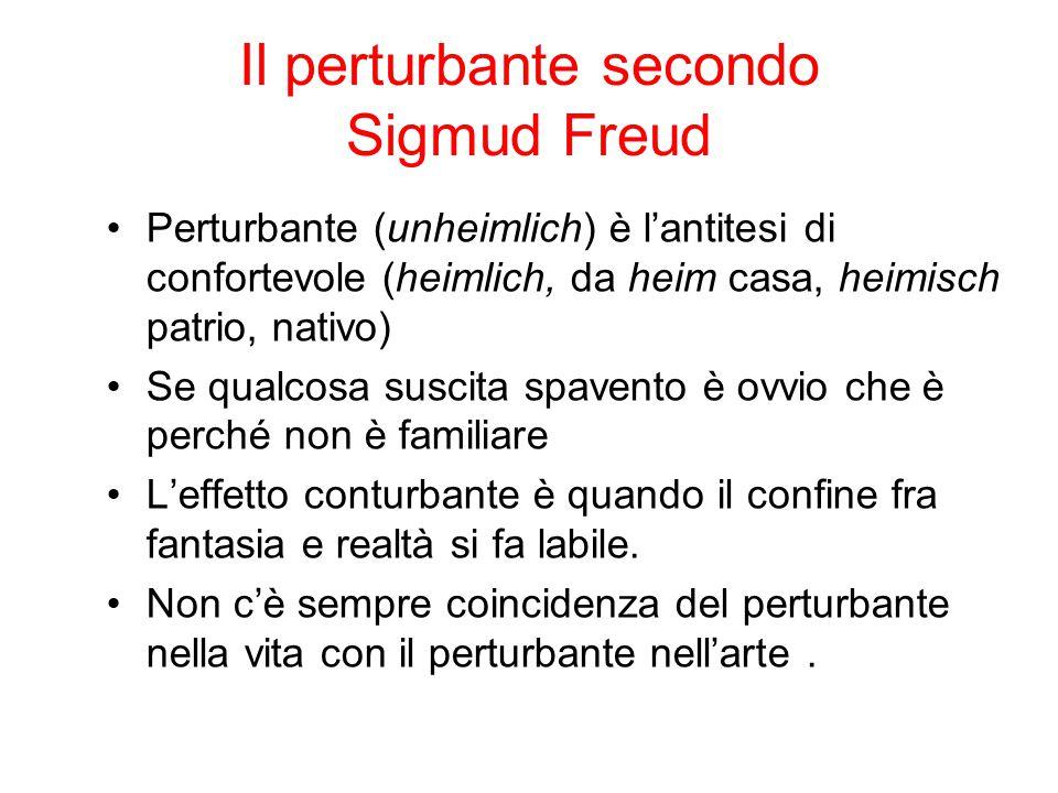 Il perturbante secondo Sigmud Freud due tipi di perturbante: 1- uno mediato e nel testo (coinvolge i personaggi) 2- uno immediato e del testo (coinvolge il lettore)