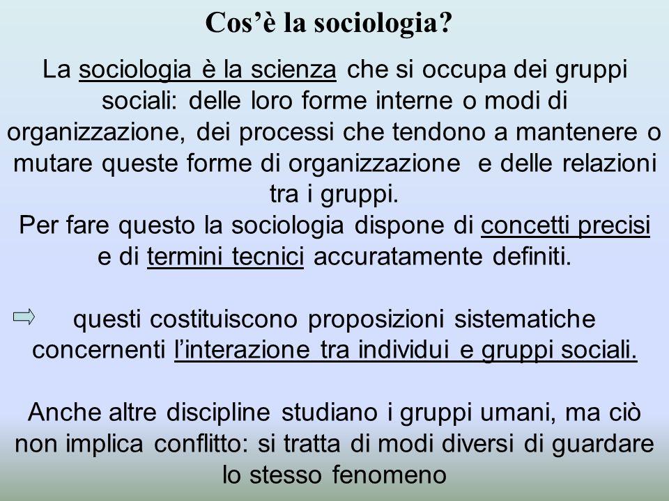 La sociologia è la scienza che si occupa dei gruppi sociali: delle loro forme interne o modi di organizzazione, dei processi che tendono a mantenere o mutare queste forme di organizzazione e delle relazioni tra i gruppi.