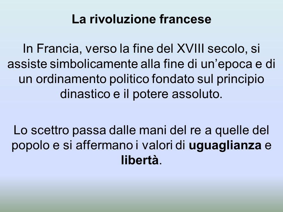 La rivoluzione francese In Francia, verso la fine del XVIII secolo, si assiste simbolicamente alla fine di un'epoca e di un ordinamento politico fondato sul principio dinastico e il potere assoluto.