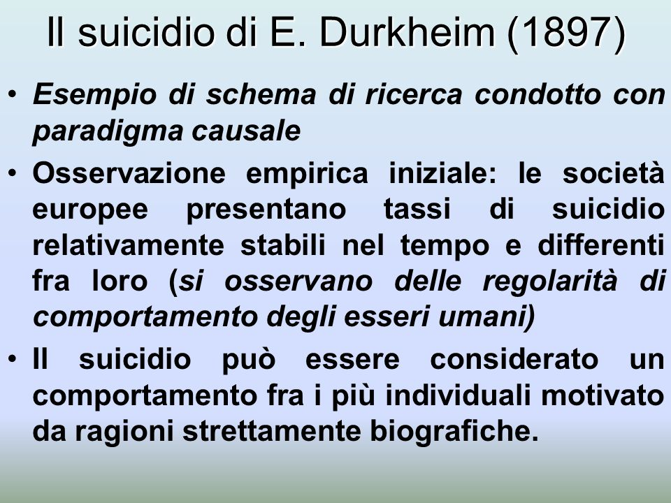 Il suicidio di E. Durkheim (1897) Esempio di schema di ricerca condotto con paradigma causale Osservazione empirica iniziale: le società europee prese