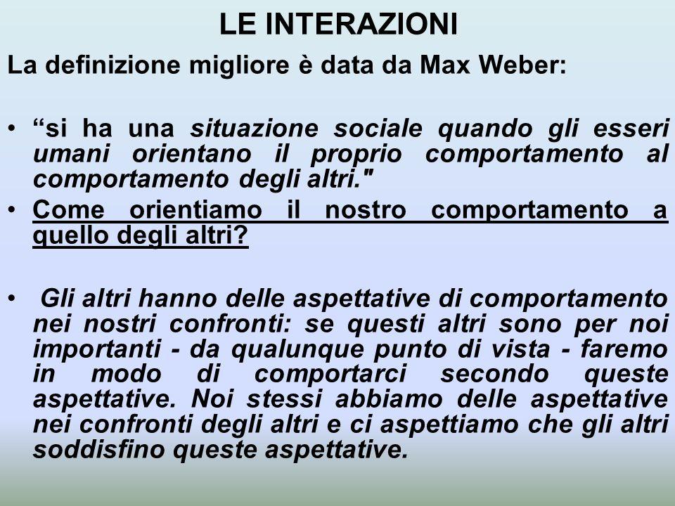 LE INTERAZIONI La definizione migliore è data da Max Weber: si ha una situazione sociale quando gli esseri umani orientano il proprio comportamento al comportamento degli altri. Come orientiamo il nostro comportamento a quello degli altri.