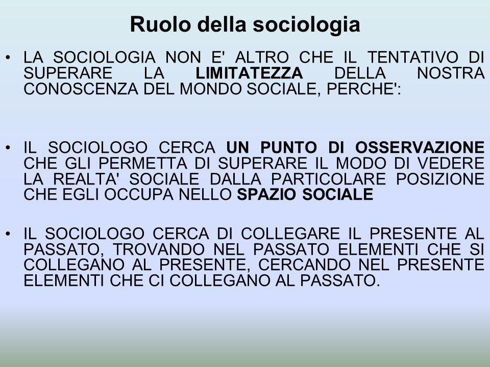 Ruolo della sociologia LA SOCIOLOGIA NON E' ALTRO CHE IL TENTATIVO DI SUPERARE LA LIMITATEZZA DELLA NOSTRA CONOSCENZA DEL MONDO SOCIALE, PERCHE': IL S