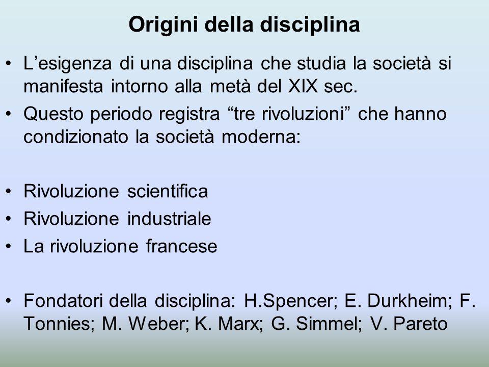Origini della disciplina L'esigenza di una disciplina che studia la società si manifesta intorno alla metà del XIX sec.