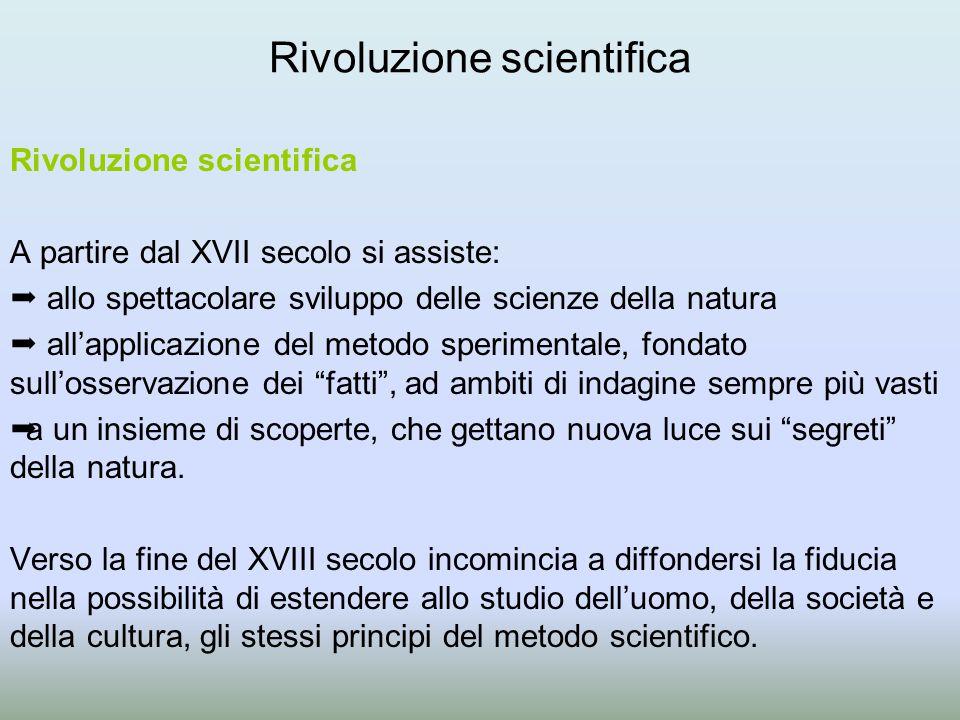 Rivoluzione scientifica A partire dal XVII secolo si assiste:  allo spettacolare sviluppo delle scienze della natura  all'applicazione del metodo sp