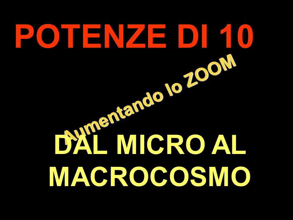 . Aumentando lo ZOOM POTENZE DI 10 DAL MICRO AL MACROCOSMO