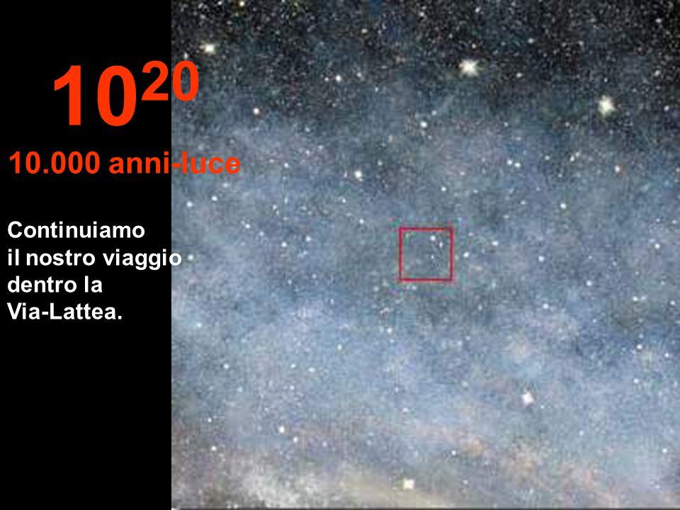 10 19 1.000 anni-luce A questa distanza le stelle sembrano fondersi. Stiamo viaggiando nella Via-Lattea, la nostra galassia.