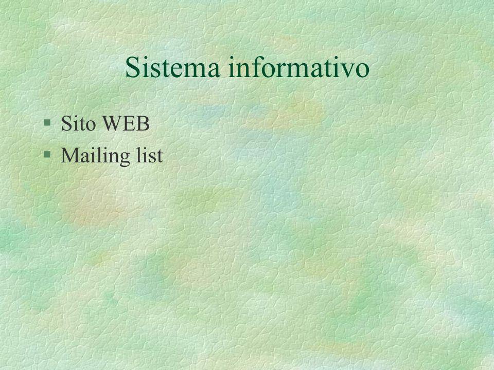 Sistema informativo §Sito WEB §Mailing list