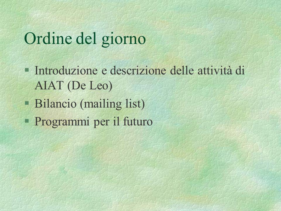 Ordine del giorno §Introduzione e descrizione delle attività di AIAT (De Leo) §Bilancio (mailing list) §Programmi per il futuro