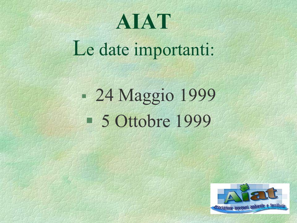AIAT L e date importanti: § 24 Maggio 1999 § 5 Ottobre 1999