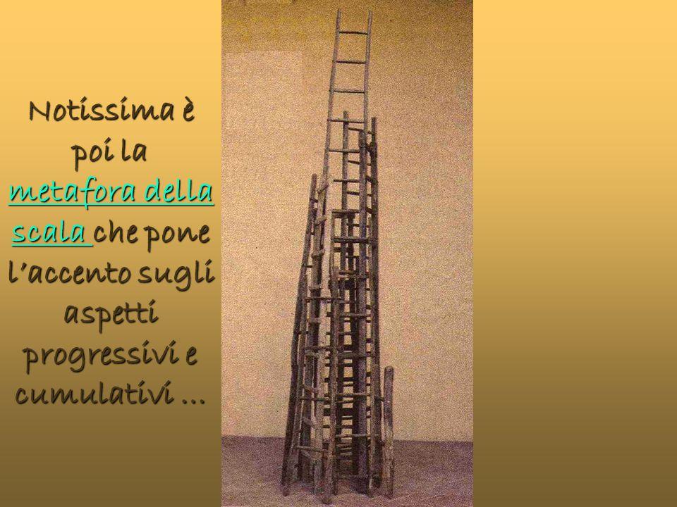 Notissima è poi la metafora della scala che pone l'accento sugli aspetti progressivi e cumulativi … metafora della scala metafora della scala