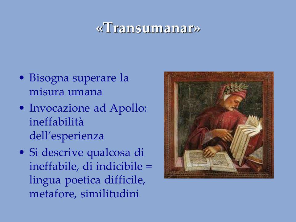 «Transumanar» Bisogna superare la misura umana Invocazione ad Apollo: ineffabilità dell'esperienza Si descrive qualcosa di ineffabile, di indicibile =