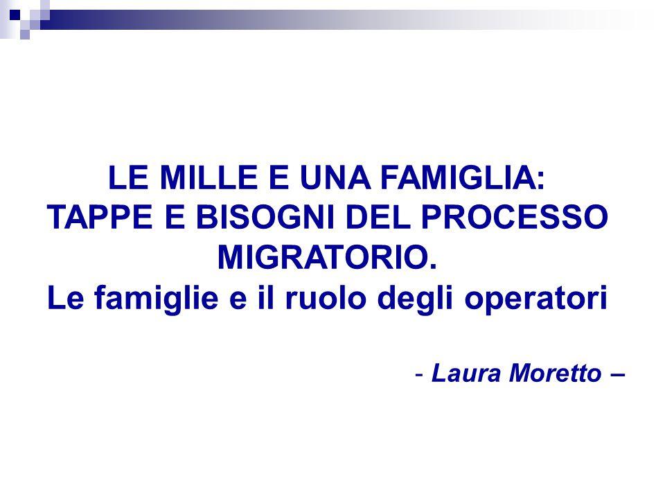 LE MILLE E UNA FAMIGLIA: TAPPE E BISOGNI DEL PROCESSO MIGRATORIO. Le famiglie e il ruolo degli operatori - Laura Moretto –