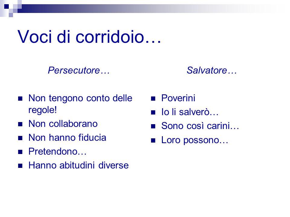 Voci di corridoio… Persecutore… Non tengono conto delle regole! Non collaborano Non hanno fiducia Pretendono… Hanno abitudini diverse Salvatore… Pover