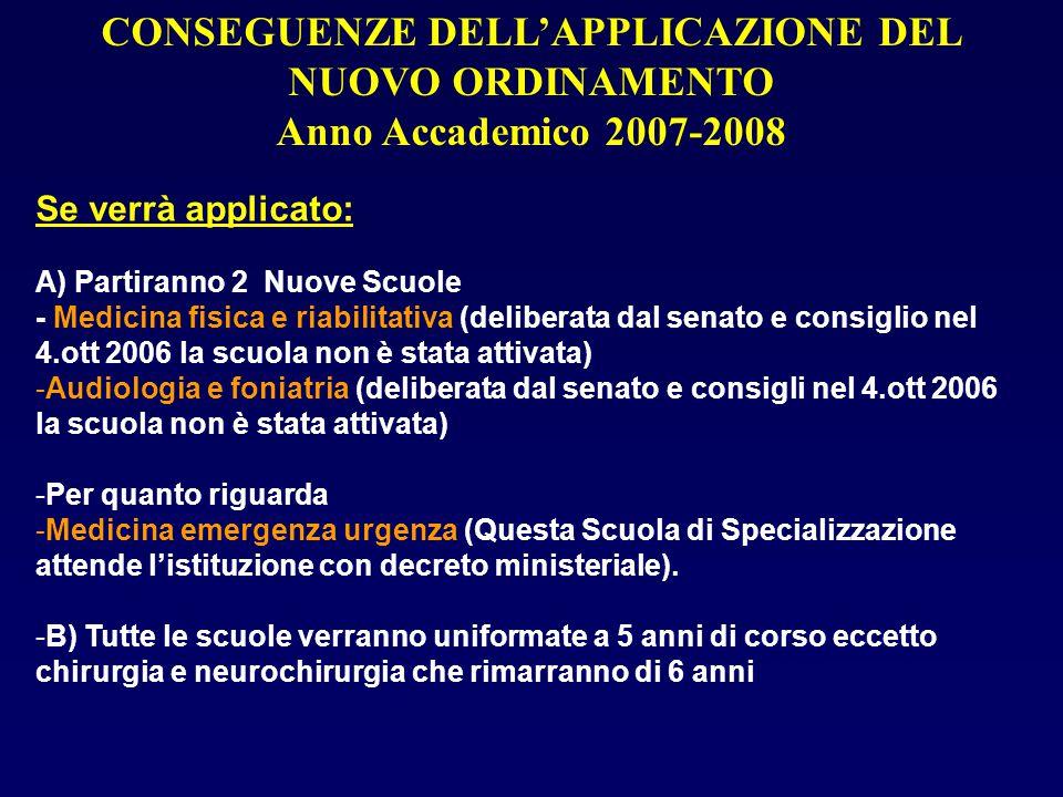 Se verrà applicato: A) Partiranno 2 Nuove Scuole - Medicina fisica e riabilitativa (deliberata dal senato e consiglio nel 4.ott 2006 la scuola non è s