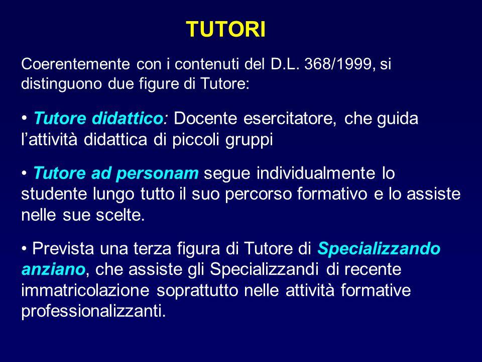 TUTORI Coerentemente con i contenuti del D.L. 368/1999, si distinguono due figure di Tutore: Tutore didattico: Docente esercitatore, che guida l'attiv