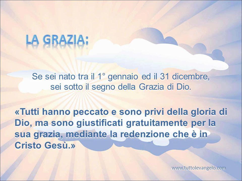Se sei nato tra il 1° gennaio ed il 31 dicembre, sei sotto il segno della Grazia di Dio.