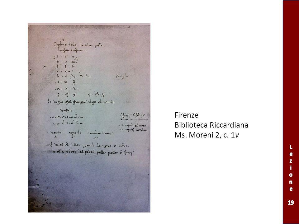 Firenze Biblioteca Riccardiana Ms. Moreni 2, c. 1v