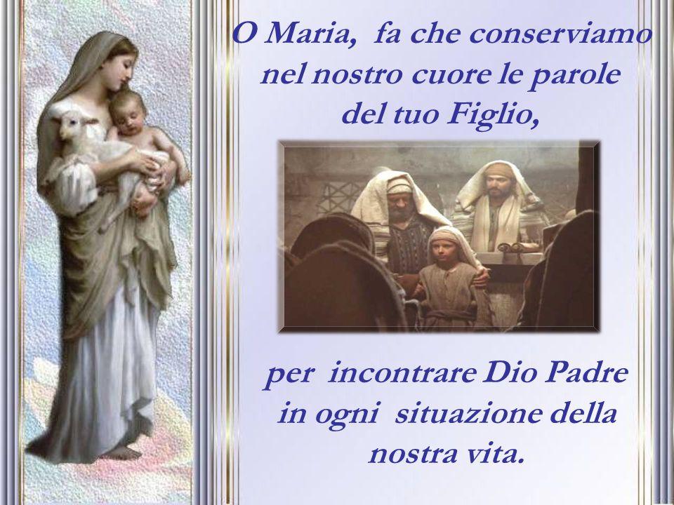 O Maria, fa che conserviamo nel nostro cuore le parole del tuo Figlio, per incontrare Dio Padre in ogni situazione della nostra vita.