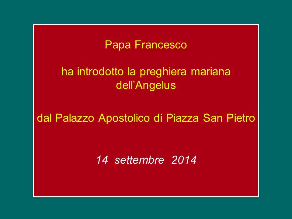 Papa Francesco ha introdotto la preghiera mariana dell'Angelus dal Palazzo Apostolico di Piazza San Pietro 14 settembre 2014 Papa Francesco ha introdotto la preghiera mariana dell'Angelus dal Palazzo Apostolico di Piazza San Pietro 14 settembre 2014