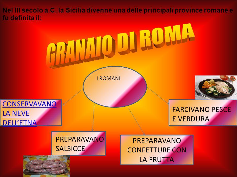 I ROMANI PREPARAVANO CONFETTURE CON LA FRUTTA FARCIVANO PESCE E VERDURA PREPARAVANO SALSICCE CONSERVAVANO LA NEVE DELL'ETNA Nel III secolo a.C.