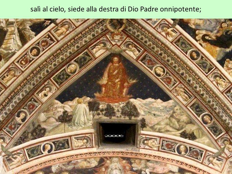 salì al cielo, siede alla destra di Dio Padre onnipotente;