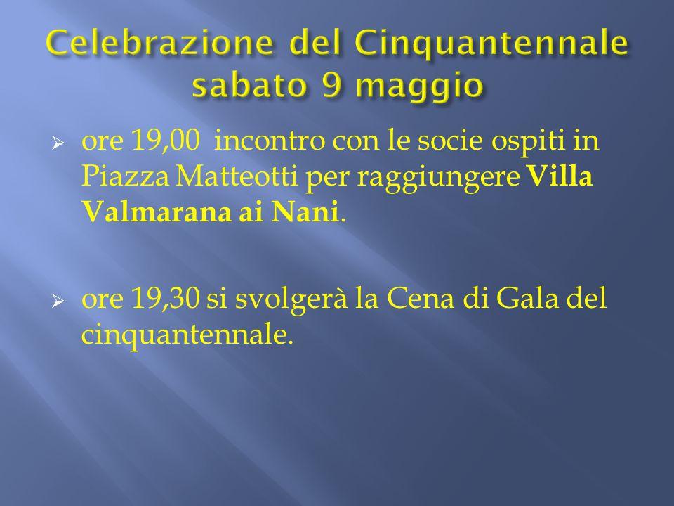 ore 19,00 incontro con le socie ospiti in Piazza Matteotti per raggiungere Villa Valmarana ai Nani.  ore 19,30 si svolgerà la Cena di Gala del cinq