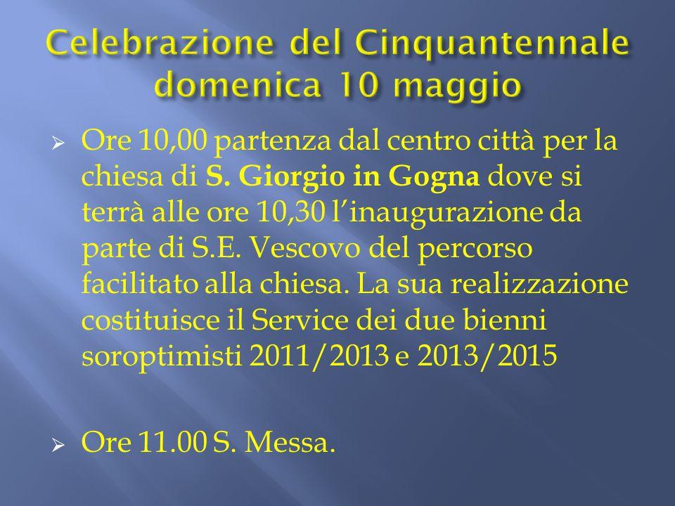  Ore 10,00 partenza dal centro città per la chiesa di S. Giorgio in Gogna dove si terrà alle ore 10,30 l'inaugurazione da parte di S.E. Vescovo del p