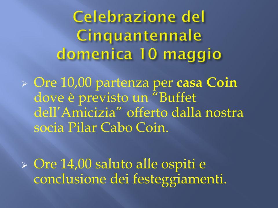 """ Ore 10,00 partenza per casa Coin dove è previsto un """"Buffet dell'Amicizia"""" offerto dalla nostra socia Pilar Cabo Coin.  Ore 14,00 saluto alle ospit"""