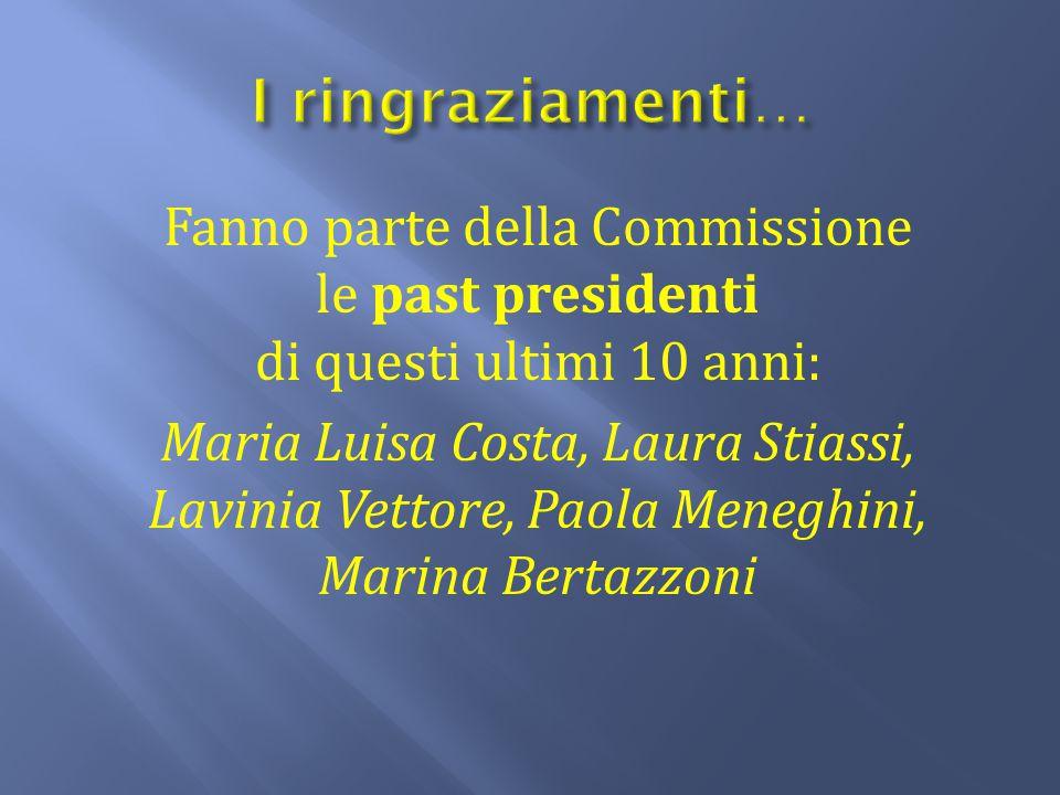 Fanno parte della Commissione le past presidenti di questi ultimi 10 anni: Maria Luisa Costa, Laura Stiassi, Lavinia Vettore, Paola Meneghini, Marina
