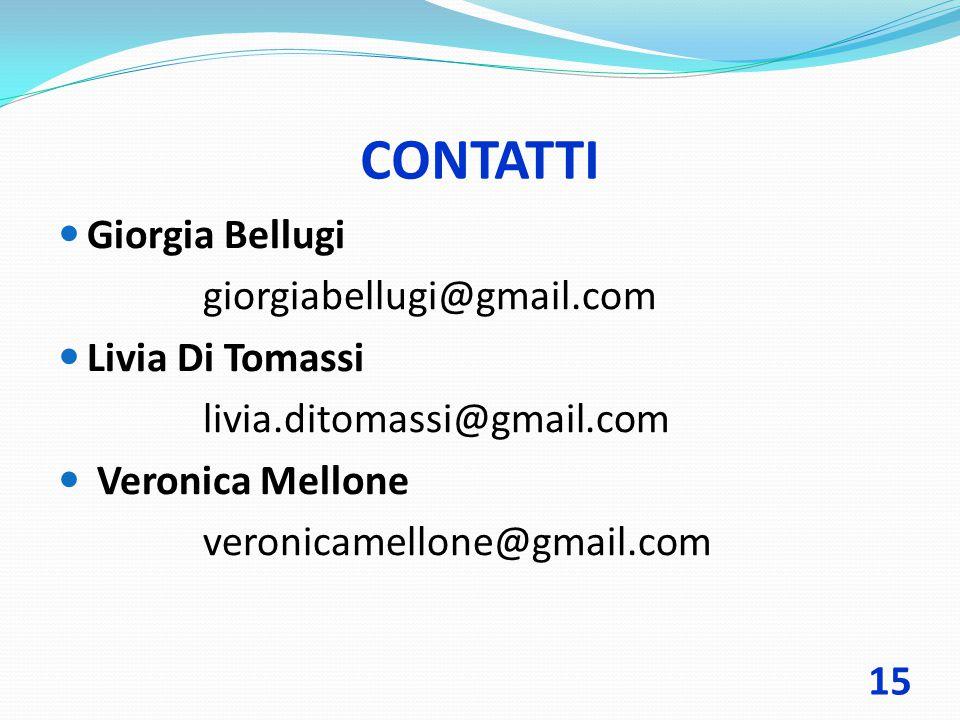 CONTATTI Giorgia Bellugi giorgiabellugi@gmail.com Livia Di Tomassi livia.ditomassi@gmail.com Veronica Mellone veronicamellone@gmail.com 15
