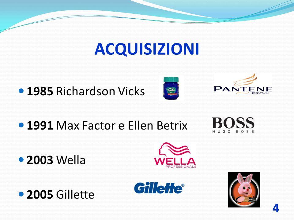 ACQUISIZIONI 1985 Richardson Vicks 1991 Max Factor e Ellen Betrix 2003 Wella 2005 Gillette 4