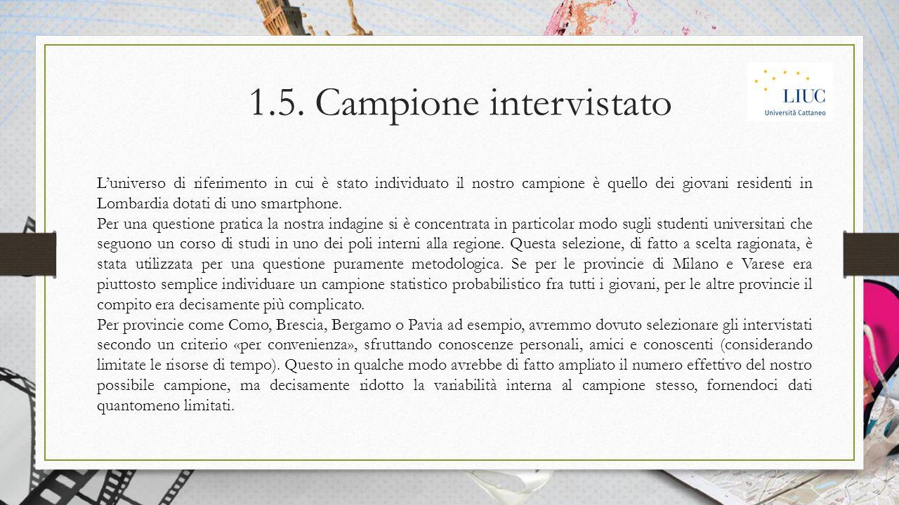 1.5. Campione intervistato L'universo di riferimento in cui è stato individuato il nostro campione è quello dei giovani residenti in Lombardia dotati