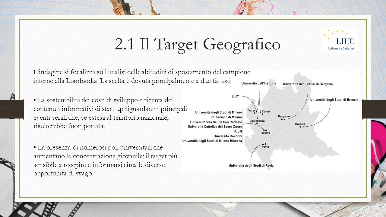 2.1 Il Target Geografico L'indagine si focalizza sull'analisi delle abitudini di spostamento del campione interne alla Lombardia.