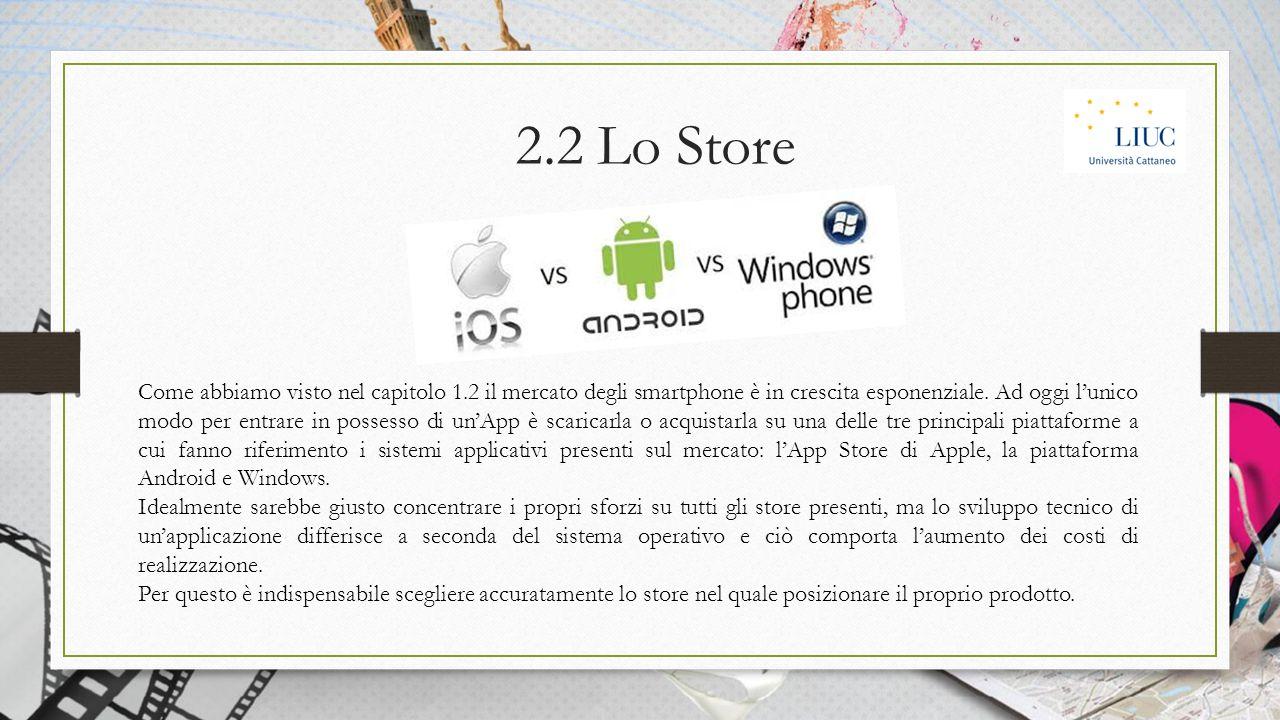 2.2 Lo Store Come abbiamo visto nel capitolo 1.2 il mercato degli smartphone è in crescita esponenziale.