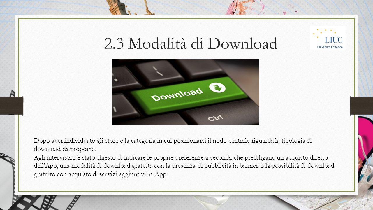 2.3 Modalità di Download Dopo aver individuato gli store e la categoria in cui posizionarsi il nodo centrale riguarda la tipologia di download da proporre.