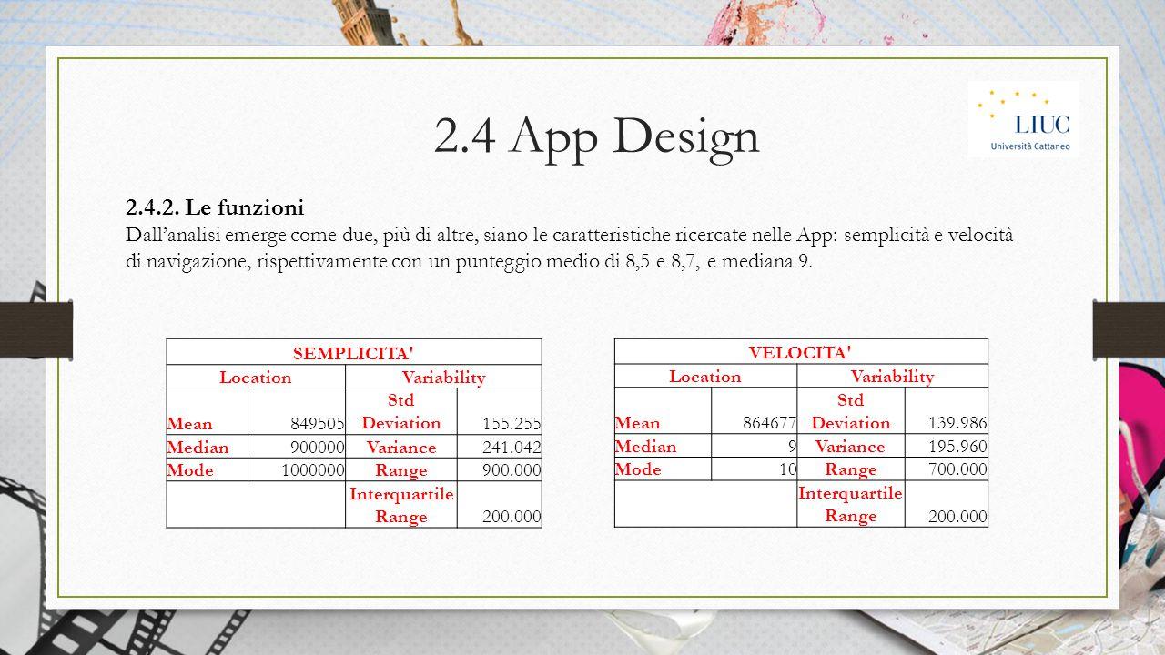 2.4.2. Le funzioni Dall'analisi emerge come due, più di altre, siano le caratteristiche ricercate nelle App: semplicità e velocità di navigazione, ris