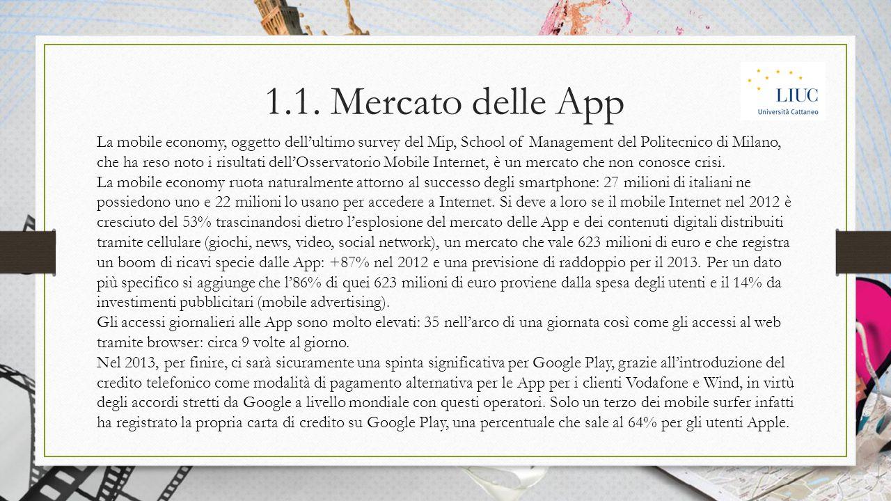 1.1. Mercato delle App La mobile economy, oggetto dell'ultimo survey del Mip, School of Management del Politecnico di Milano, che ha reso noto i risul