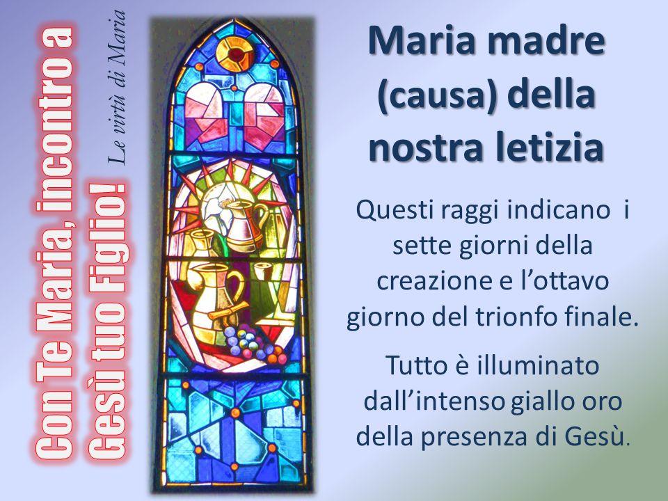 Maria madre (causa) della nostra letizia Questi raggi indicano i sette giorni della creazione e l'ottavo giorno del trionfo finale. Tutto è illuminato